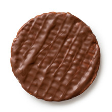 Whole Chocolate Rice Cake Isolated On White From Above.