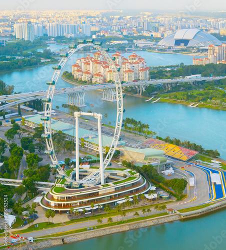 Deurstickers Aziatische Plekken Singapore Flyer river aerial view