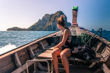 Woman Enjoying Boat Ride, Tonsai, Krabi, Thailand