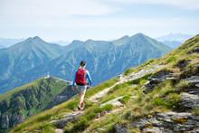 Woman Hiking On Mountain Path Above Gastein, Salzburg, Austria