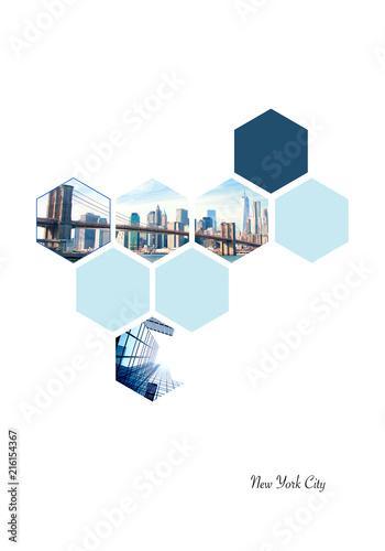 Keuken foto achterwand New York City Hexagon shapes with New York City images. Geometric background