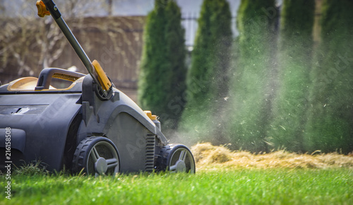 Aeration of the lawn in the garden. Yellow aerator on green grass Canvas-taulu