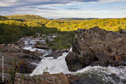 Fotobehang Bleke violet North arctic landscape with waterfall of Kola peninsula, Russia