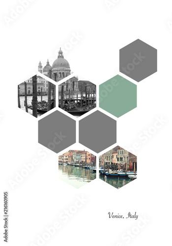 Hexagon shapes with Venice (Venezia) images. Italian places. Geometric background