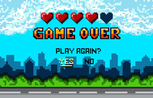 "Game Over Pixel Art Design With City Landscape Background. Colorful Pixel Arcade Screen For Game Design. Banner With Lives And Phrase ""play Again?"". Retro Game Design Concept."