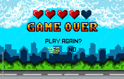 Poster Turquoise Game over Pixel art design with city landscape background. Colorful Pixel arcade screen for game design. Banner with lives and phrase
