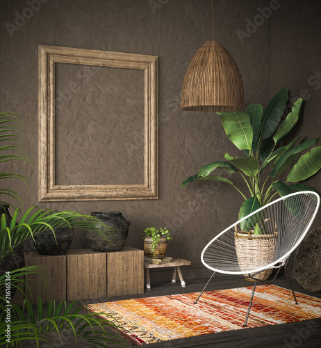 Foto auf AluDibond Boho-Stil Old wooden frame mock-up in ethnic interior, 3d render