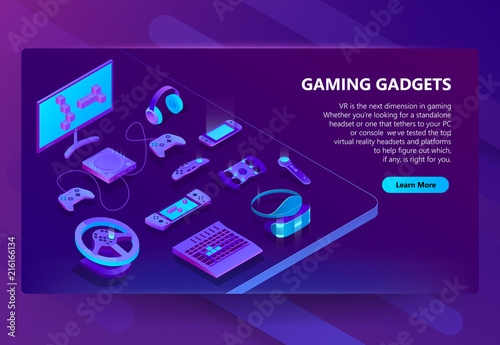 10a572d4590a Gaming gadgets vector isometric concept background. Modern devices for video  games