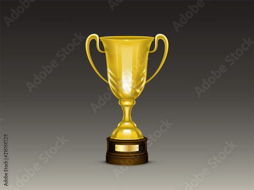 Vector 3d realistic cup, golden trophy for winner of