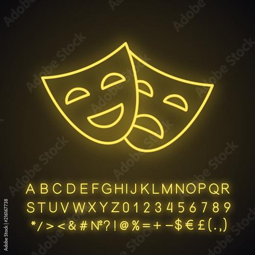 Fotografía Comedy and tragedy masks neon light icon