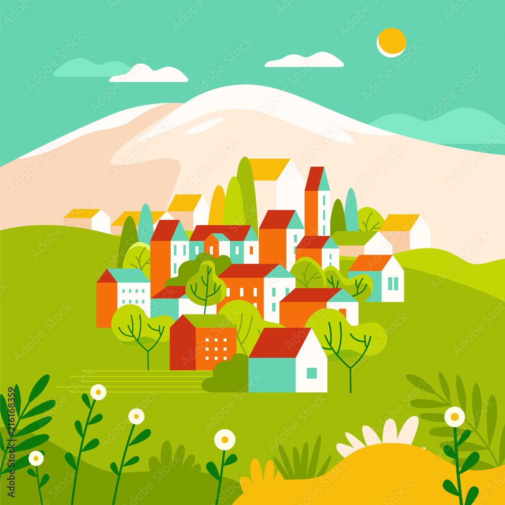 Fototapeta Vector illustration in simple minimal geometric flat style - landscape with buildings, hills and trees