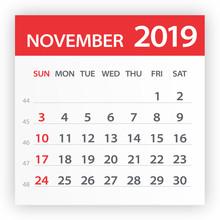 November 2019 Calendar Leaf - Vector Illustration