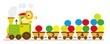 Pociąg z cyframi 1-10, ilustracja edukacyjna dla dzieci ,wektory