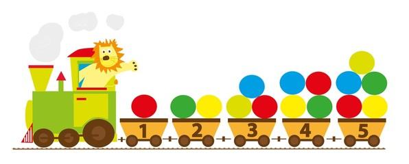 NaklejkaPociąg z cyframi 1-10, ilustracja edukacyjna dla dzieci ,wektory