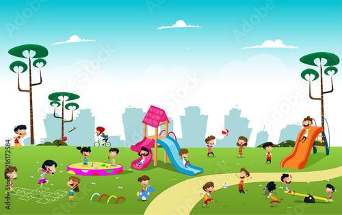 Aluminium Prints River, lake Boys playing football in the park illustration