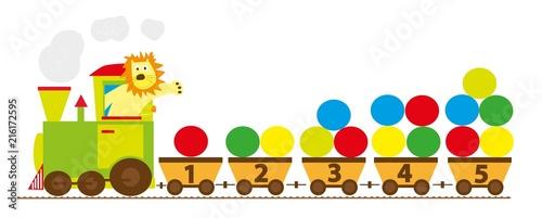 Fototapeta Pociąg z cyframi 1-10, ilustracja edukacyjna dla dzieci ,wektory obraz