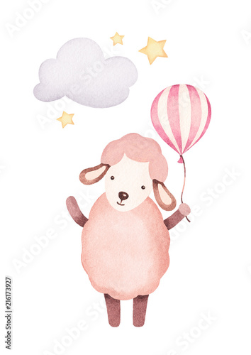 Watercolor illustration of cute sheep. Perfect for greeting card