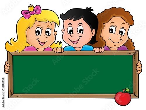 Foto op Plexiglas Voor kinderen Children holding schoolboard theme 1