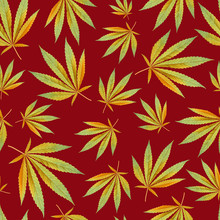 Red Texture For Design Textile. Yellow Leaves Cannabis Marijuana. Seamless Modern Pattern