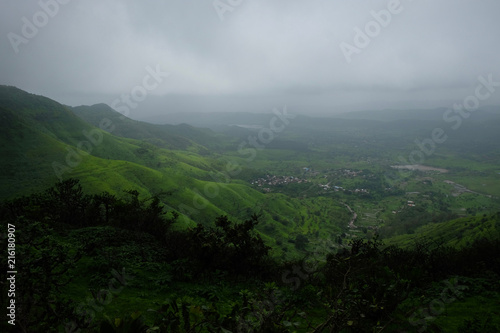 Foto op Canvas Zwart Lush green monsoon nature landscape mountains, hills, Purandar, Maharashtra, India