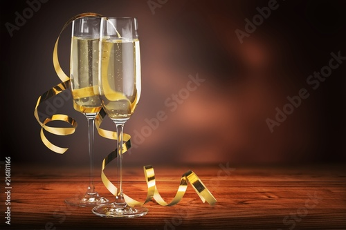 Champagne Glasses and Streamers