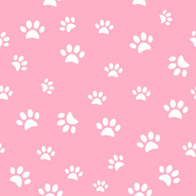 Vector Seamless Pattern And Background With Icons Footprint To Cat And Dog - Abstract Background For Pet Shop Websites And Prints. Light Marks On A Pink Background.