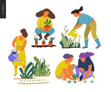 People Summer Gardening - Set ...