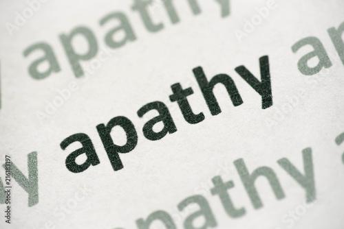 Photo word apathy printed on paper macro