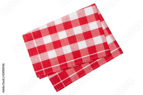 Fototapeta Red and white checkered napkin isolated on white background. obraz