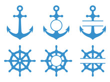 Handwheel And Anchor Icons. Sea Ship. Vector Monograms Set Isolated