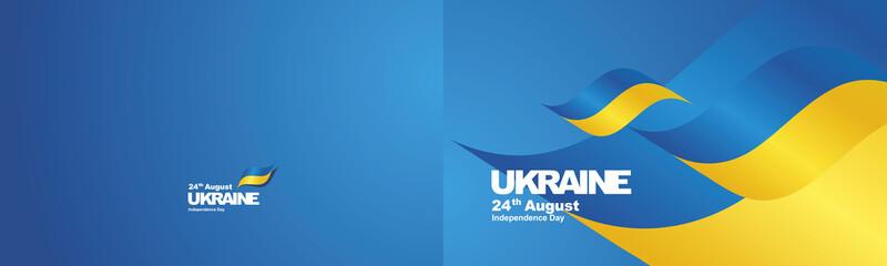 Independence Day Ukraine flag ribbon two fold landscape background