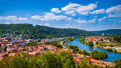 Panoramic view of Wertheim am Main, Germany.