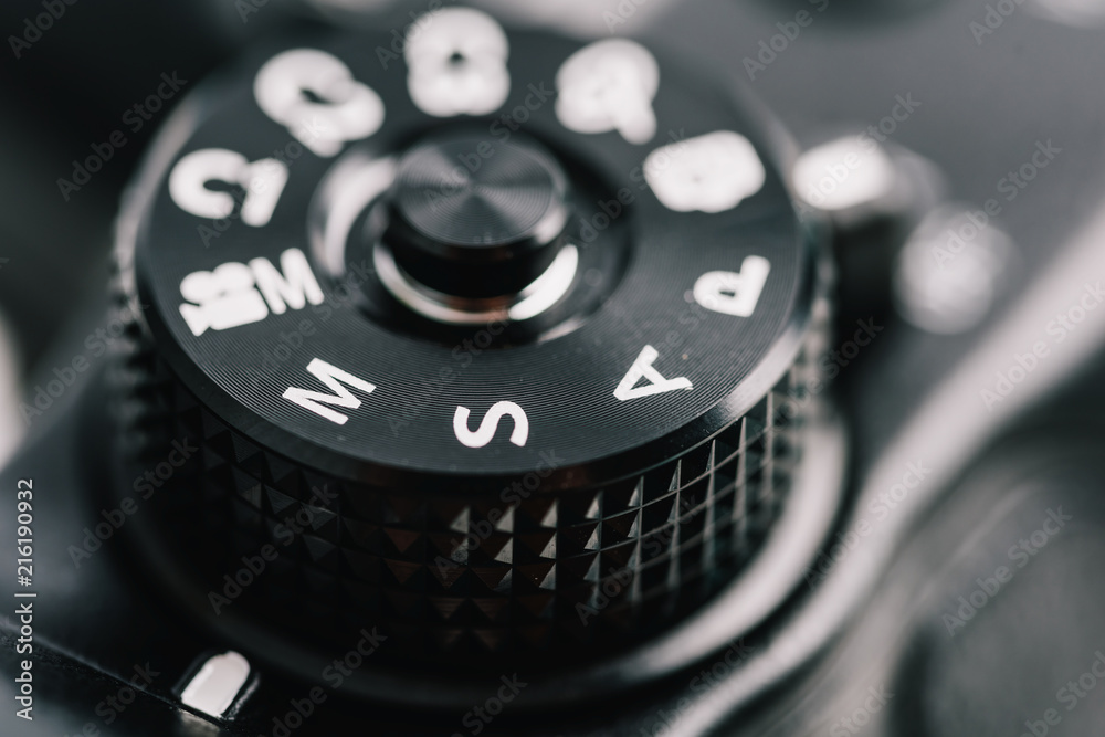 Fototapety, obrazy: Digital Camera Control Dial Showing Aperture, Shutter Speed, Manual and Program Generic Modes