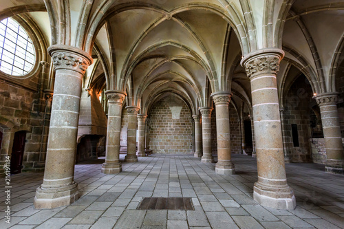 Photo Medieval abbey interior Mont Saint-Michel, France