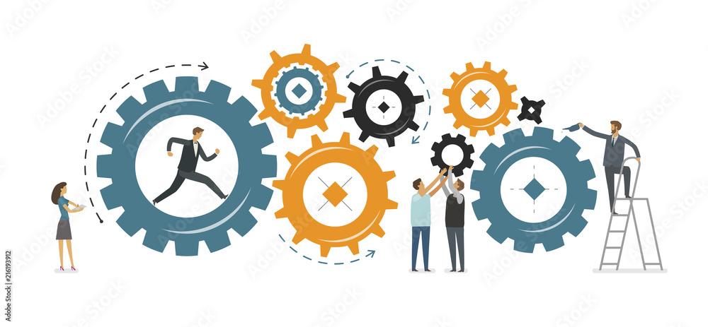 Fototapeta Business development, teamwork concept. Vector illustration