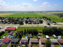 Aerial View Of Small Canadian Town