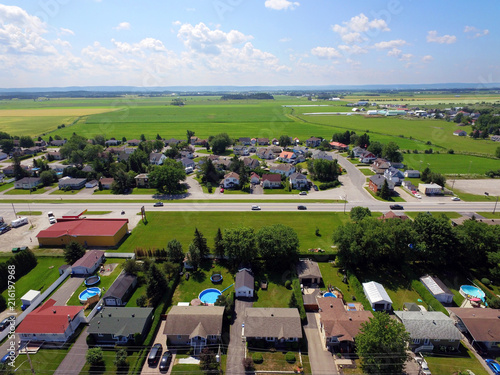 Foto op Plexiglas Luchtfoto Aerial view of small Canadian town