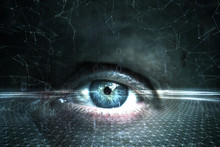 Close Up Of Human Eye On Futuristic Cyberspace Network Background.