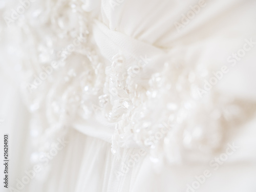 Bride's dress with embroidered elements and beads  Bridal