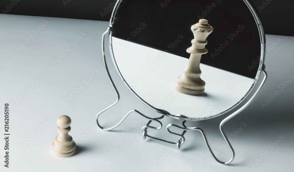 Fototapeta Chess Pawn Looking in the Mirror
