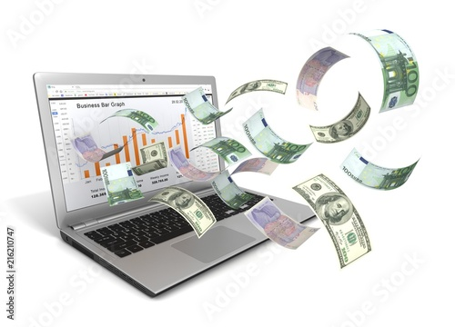 Fotografía  make money online with laptop concept