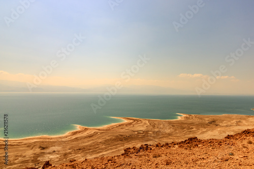 Poster Beige Desert landscape of Israel, Dead Sea, Jordan. View of Dead Sea coastline.