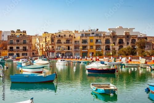 Spoed Fotobehang Amsterdam Marsaxlokk Traditional fishing village in Malta