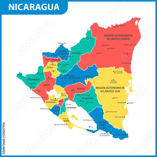 Fotografia The detailed map of Nicaragua with regions or states and cities, capital