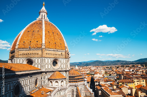 Leinwand Poster Santa Maria del Fiore cathedral Duomo and old town in Florence, Italy