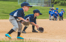 Youth Baseball Players Fieldin...