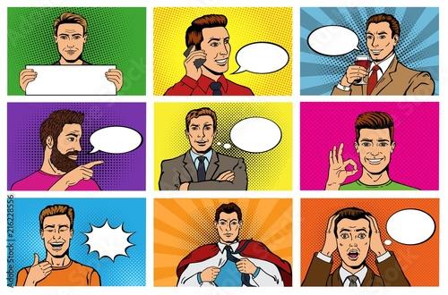 Komiks mężczyzna wektor popart kreskówka biznesmen charakter mówiąc bańka mowy lub komiks wyrażenie wyrażenie mężczyzna zestaw mężczyzn w stylu mody pop-art na tle