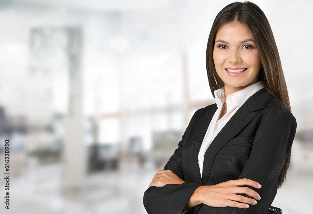 Fototapeta Portrait of young beautiful business woman