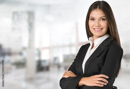 Obraz Portrait of young beautiful business woman - fototapety do salonu