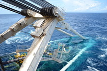 Pipe Lay Stinger Is Attached To The Stern Of Pipe Lay Vessel During Offshore Pipeline Installation.